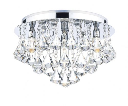 Dar Fringe 4 Light Flush Polished Chrome IP44 FRI0450